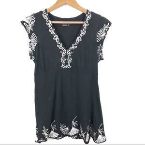 BCBGMAXAZRIA Black Embroidered Floral Blouse M